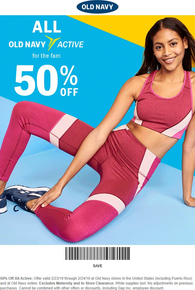 Old Navy Coupon August 2019 50% off activewear today at Old Navy, or online via promo code MORE