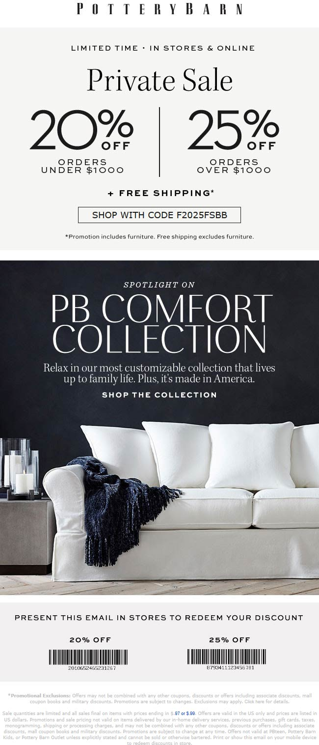Pottery Barn Coupon October 2019 20-25% off at Pottery Barn, or online via promo code F2025FSBB