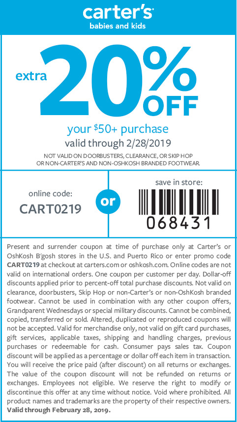 Carters Coupon July 2019 20% off $50 at Carters, or online via promo code CART0219