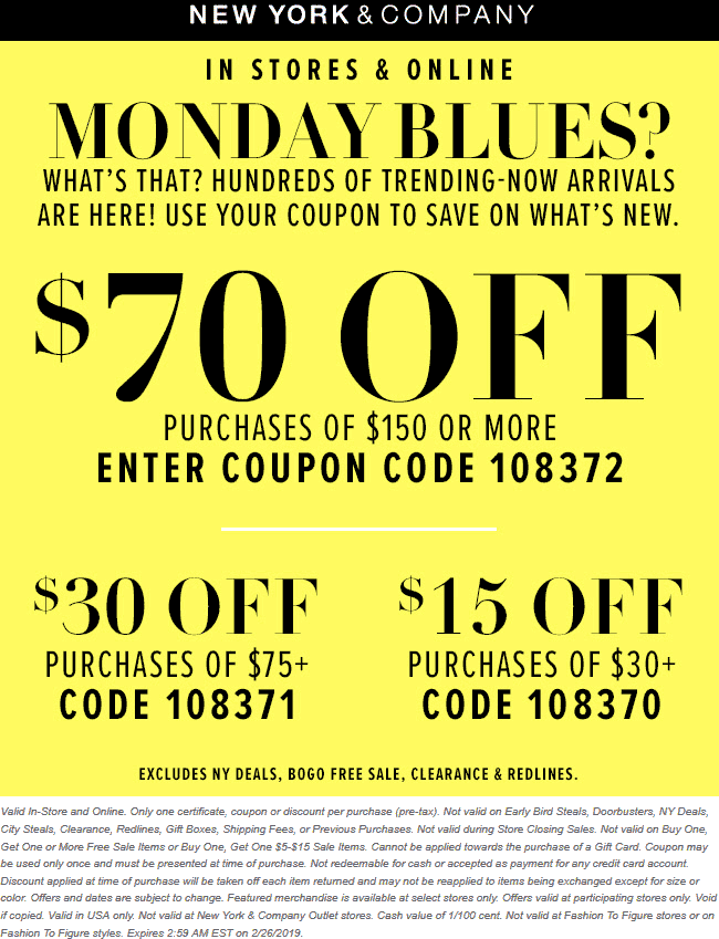 New York & Company Coupon October 2019 $15 off $30 & more at New York & Company, or online via promo code 108370