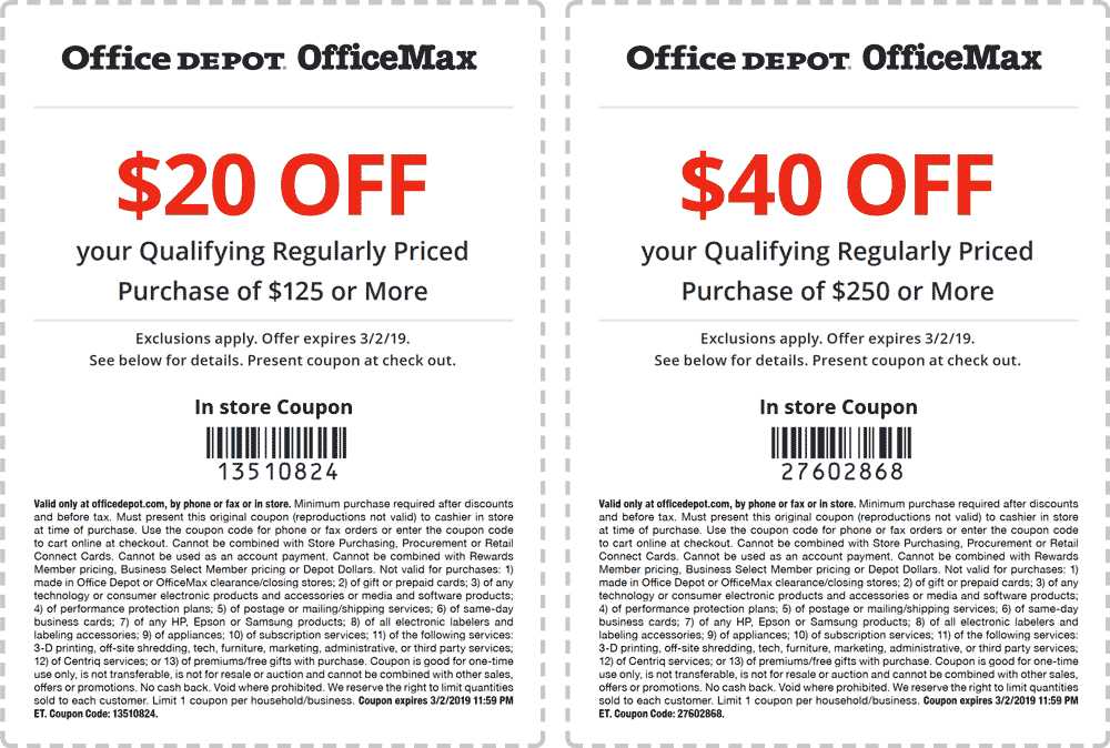 Office Depot Coupon November 2019 $20 off $125 at Office Depot & OfficeMax, or online via promo code 13510824