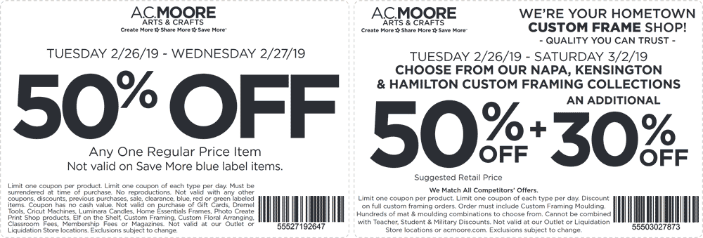 A.C. Moore Coupon August 2019 50% off a single item at A.C. Moore