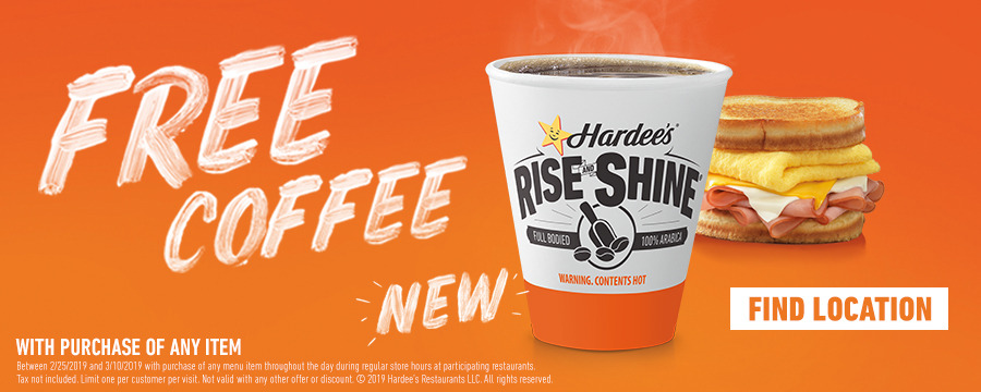 Hardees Coupon October 2019 Free coffee with any order at Hardees