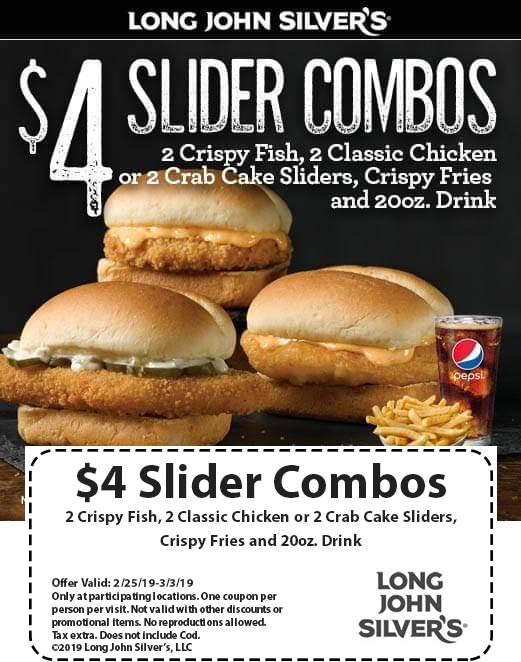 Long John Silvers Coupon July 2019 $4 slider combos at Long John Silvers restaurants