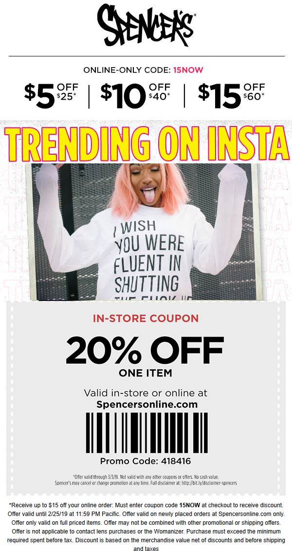 Spencers Coupon May 2019 20% off a single item at Spencers, or online via promo code 418416