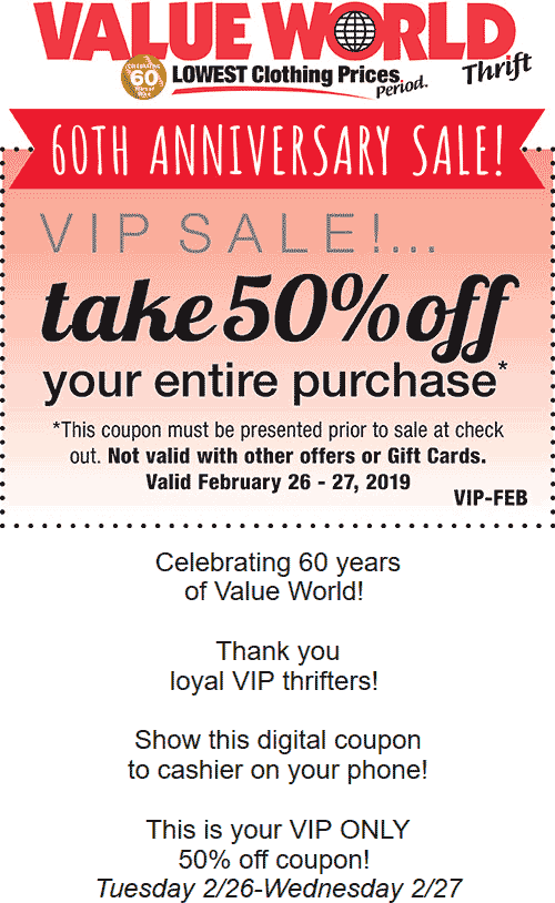 Value World Coupon December 2019 50% off everything at Value World