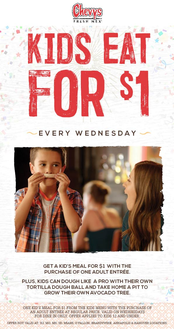 Chevys Coupon July 2019 Kids eat for $1 today at Chevys Fresh Mex restaurants