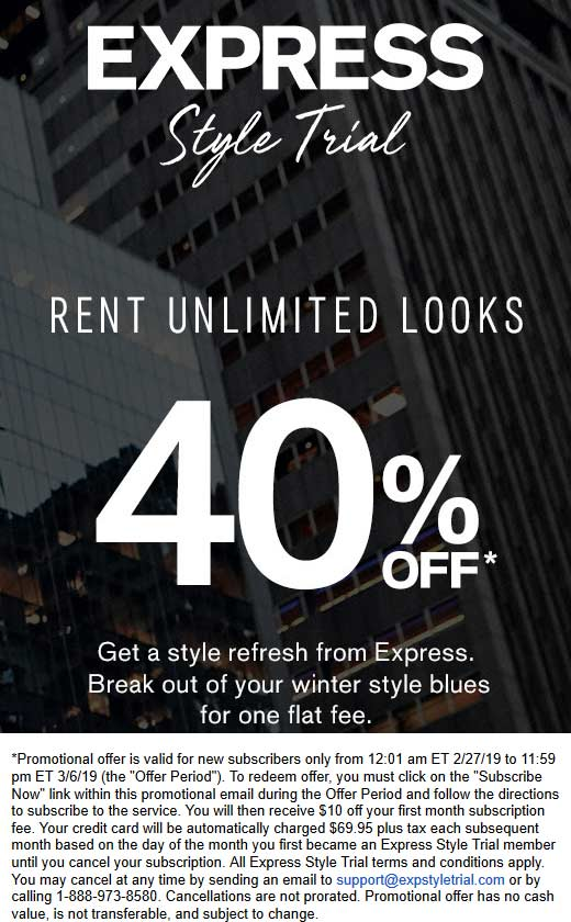 Express Coupon September 2019 Rent unlimited looks for 40% off at Express