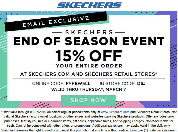 Skechers Coupon August 2019 15% off at Skechers, or online via promo code FAREWELL