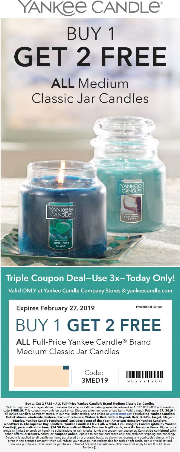 Yankee Candle Coupon November 2019 3-for-1 on medium candles today at Yankee Candle, or online via promo code 3MED19