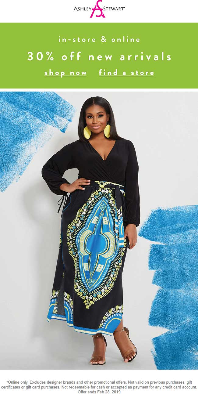 Ashley Stewart Coupon January 2020 30% off new arrivals today at Ashley Stewart, ditto online