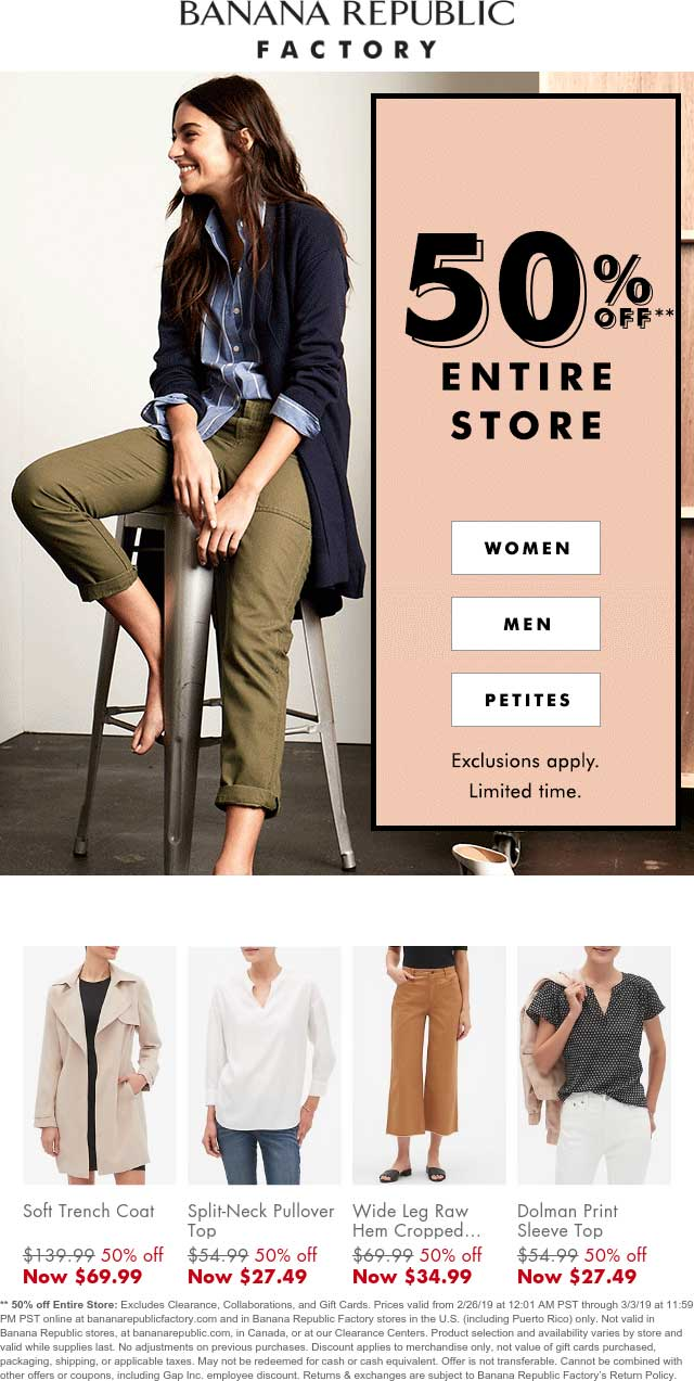 Banana Republic Factory Coupon July 2019 50% off everything at Banana Republic Factory, ditto online