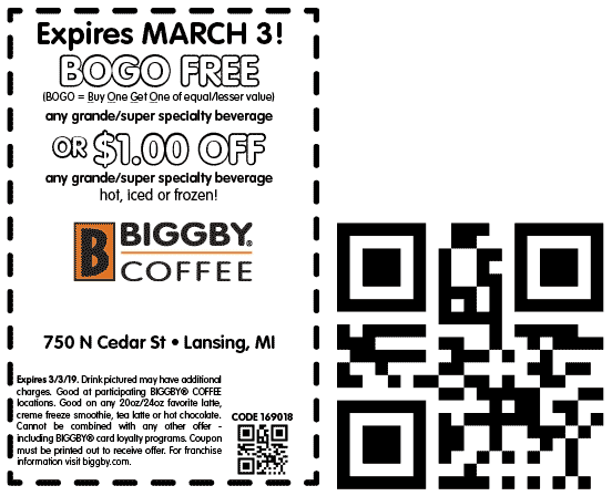 Biggby Coffee Coupon October 2019 Second coffee free at Biggby Coffee