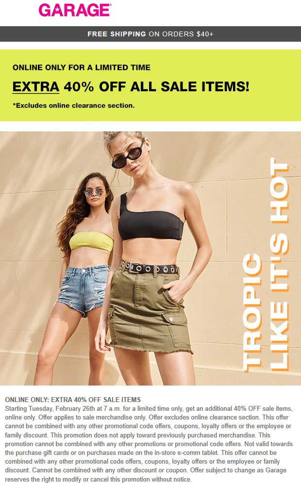 Garage Coupon August 2019 40% off sale items online at Garage