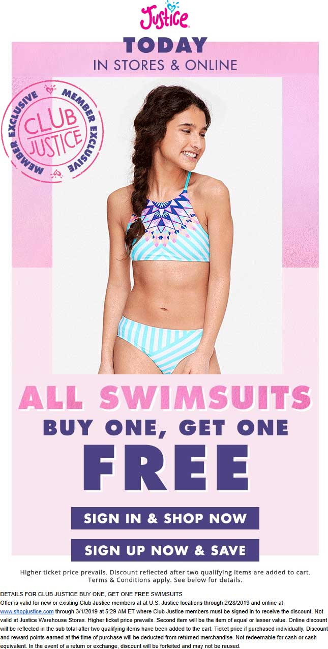 Justice Coupon July 2019 Second swimsuit free today at Justice, ditto online
