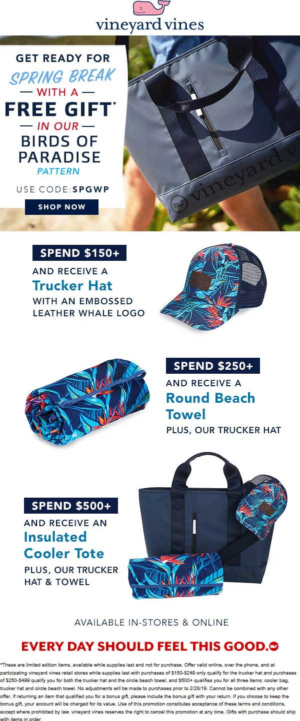 Vineyard Vines Coupon September 2019 Various free gifts with your order at Vineyard Vines, or online via promo code SPGWP