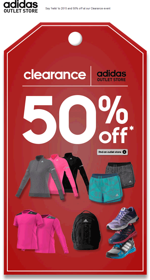 Adidas Outlet Coupon January 2017 Extra 50% off clearance at Adidas Outlet locations