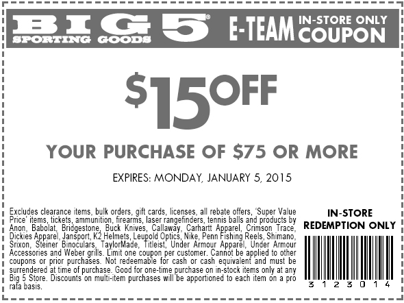Big 5 Coupon April 2017 $15 off $75 at Big 5 sporting goods
