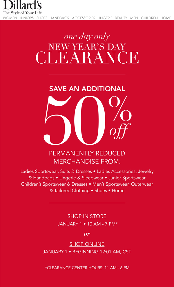 Dillards Coupon May 2018 Extra 50% off clearance items today at Dillards, ditto online