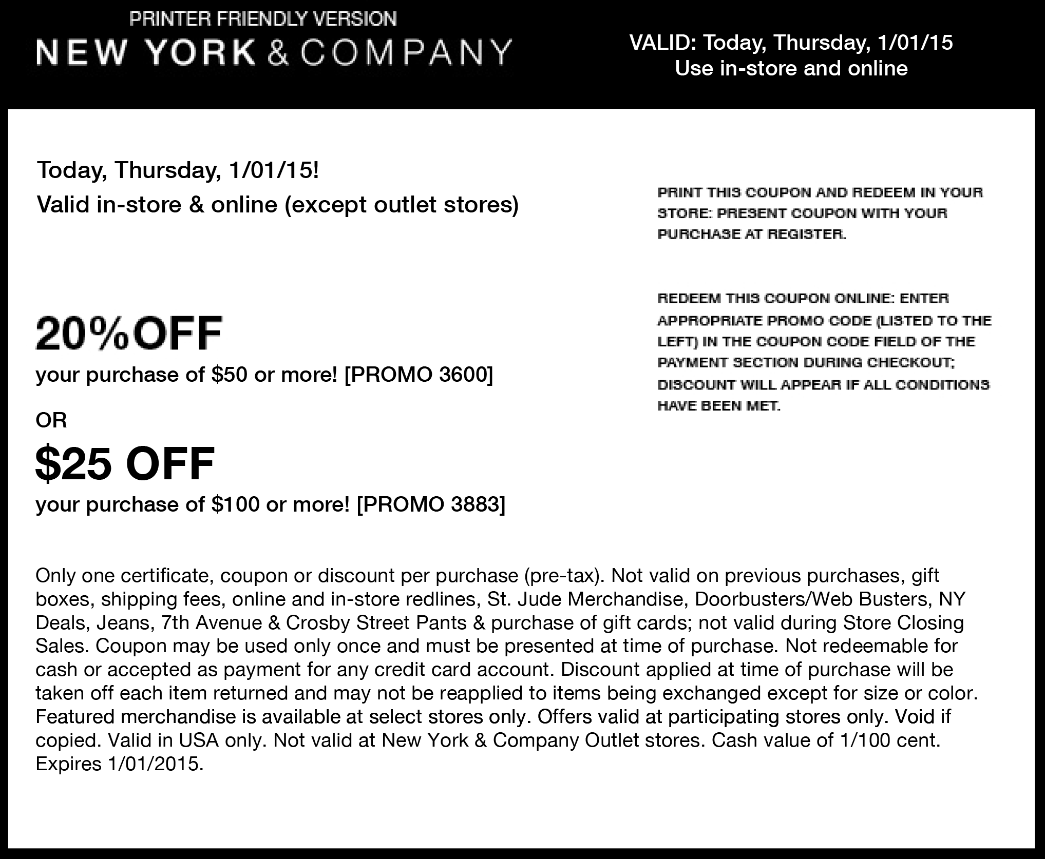 New York & Company Coupon November 2018 20% off $50 at New York & Company, or online via promo code 3600