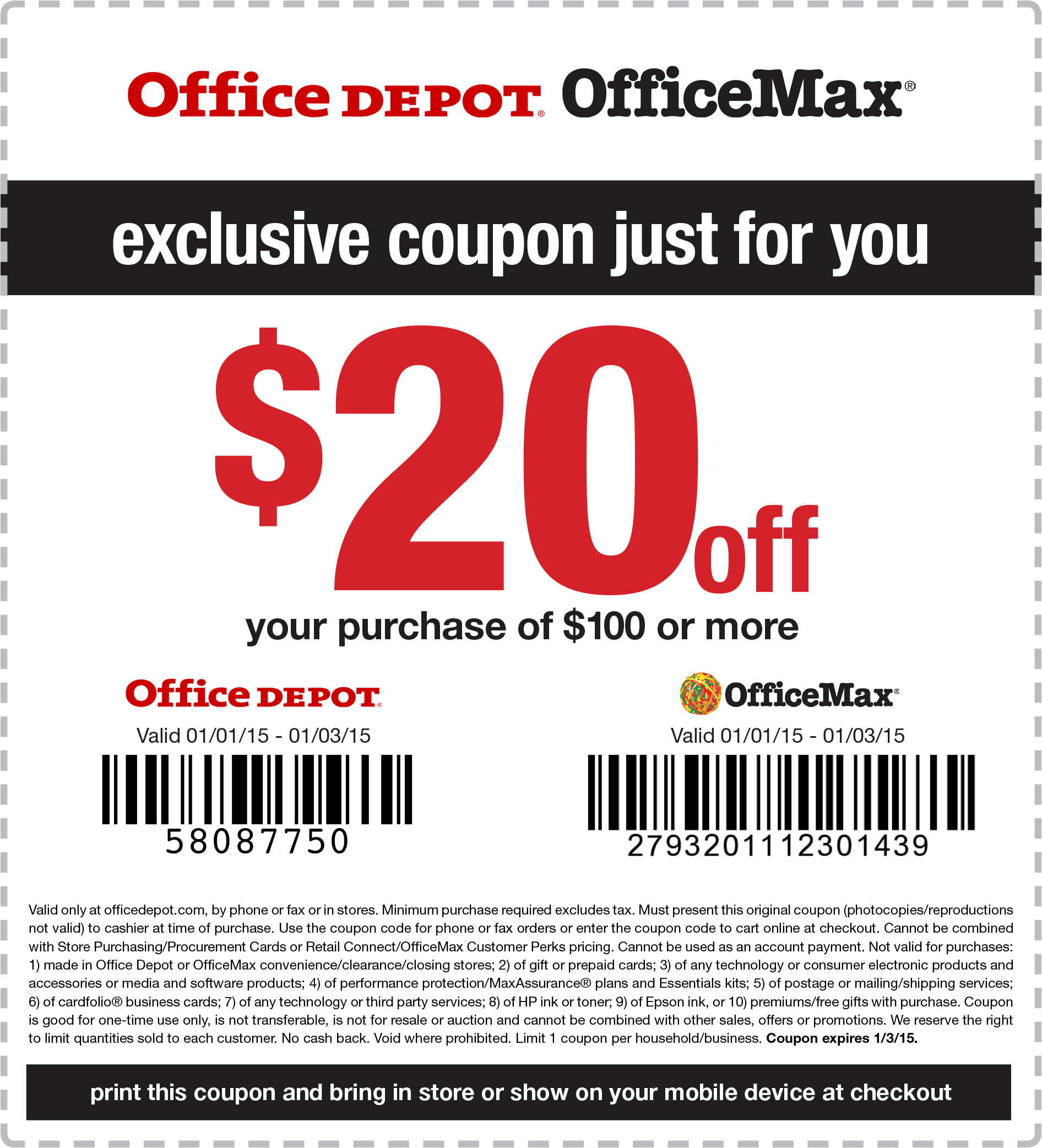 OfficeMax & Office Depot Coupon February 2017 $20 off $100 at Office Depot & OfficeMax, or online via promo code 58087750