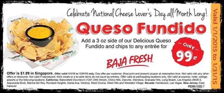 Baja Fresh Coupon October 2018 Chips & queso for a buck all month at Baja Fresh
