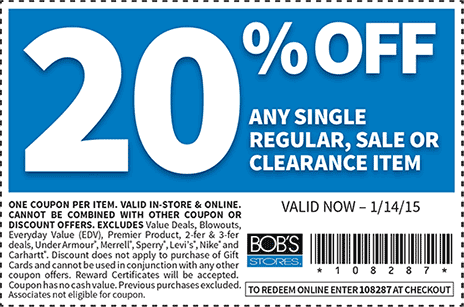 Bobs Stores Coupon March 2017 20% off a single item at Bobs Stores, or online via promo code 108287