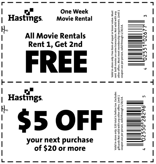 Hastings Coupon January 2017 $5 off $20 & 2nd movie rental free at Hastings, or 30% off used games books & movies online via promo ALLSHOOKUP