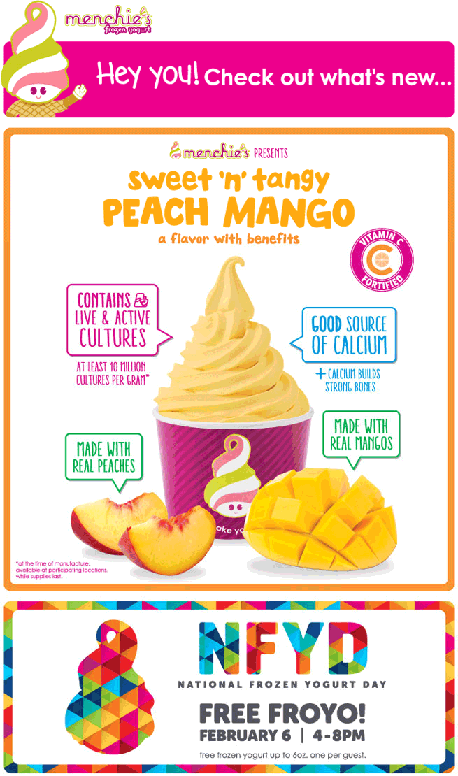 Menchies Coupon May 2017 Free frozen yogurt the 6th at Menchies