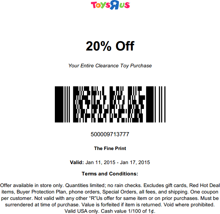 Toys R Us Coupon May 2018 Extra 20% off clearance at Toys R Us
