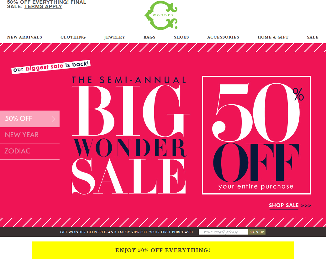 C.Wonder Coupon November 2018 Going out-of-business 50% off everything at C. Wonder