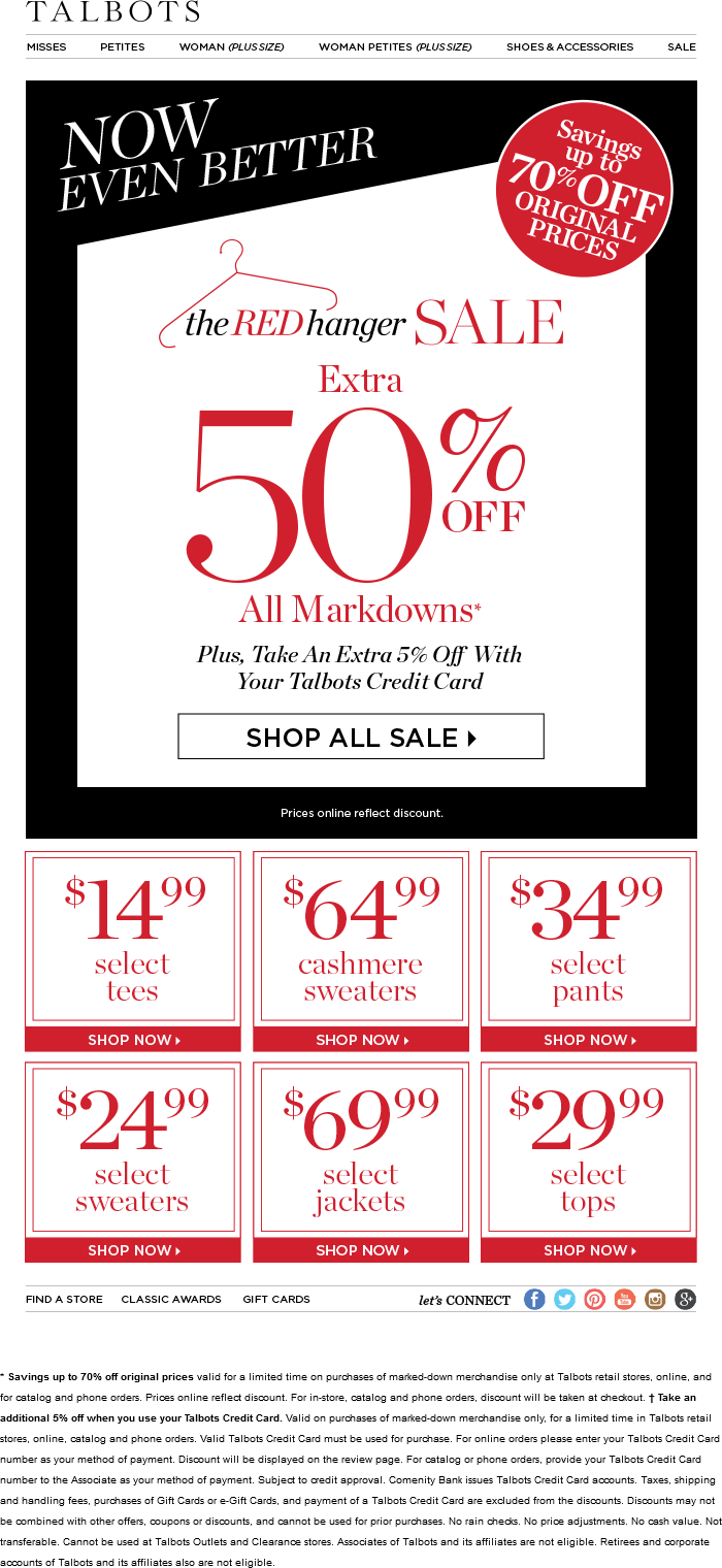 Talbots Coupon December 2016 Extra 50% off sale items at Talbots, ditto online