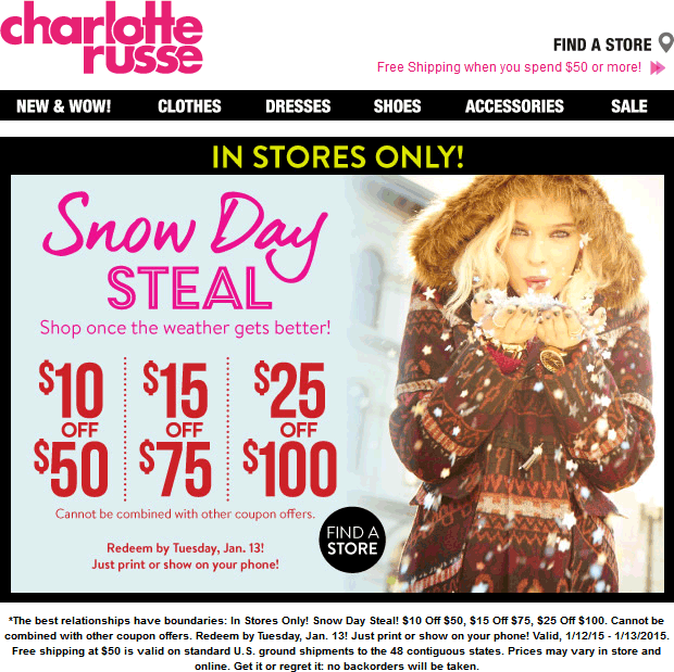 Charlotte Russe Coupon November 2017 $10 off $50 & more today at Charlotte Russe