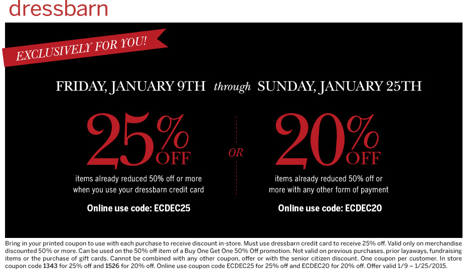 Dressbarn Coupon March 2019 20% off $50 at dressbarn, or online via promo code ECDEC20