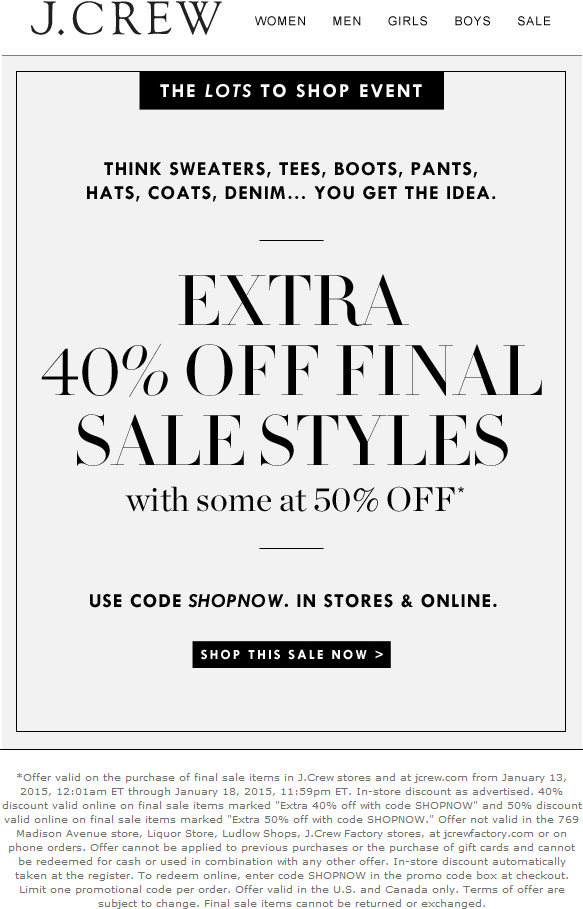 J.Crew Coupon April 2017 Extra 40% off clearance at J.Crew, or online via promo code SHOPNOW