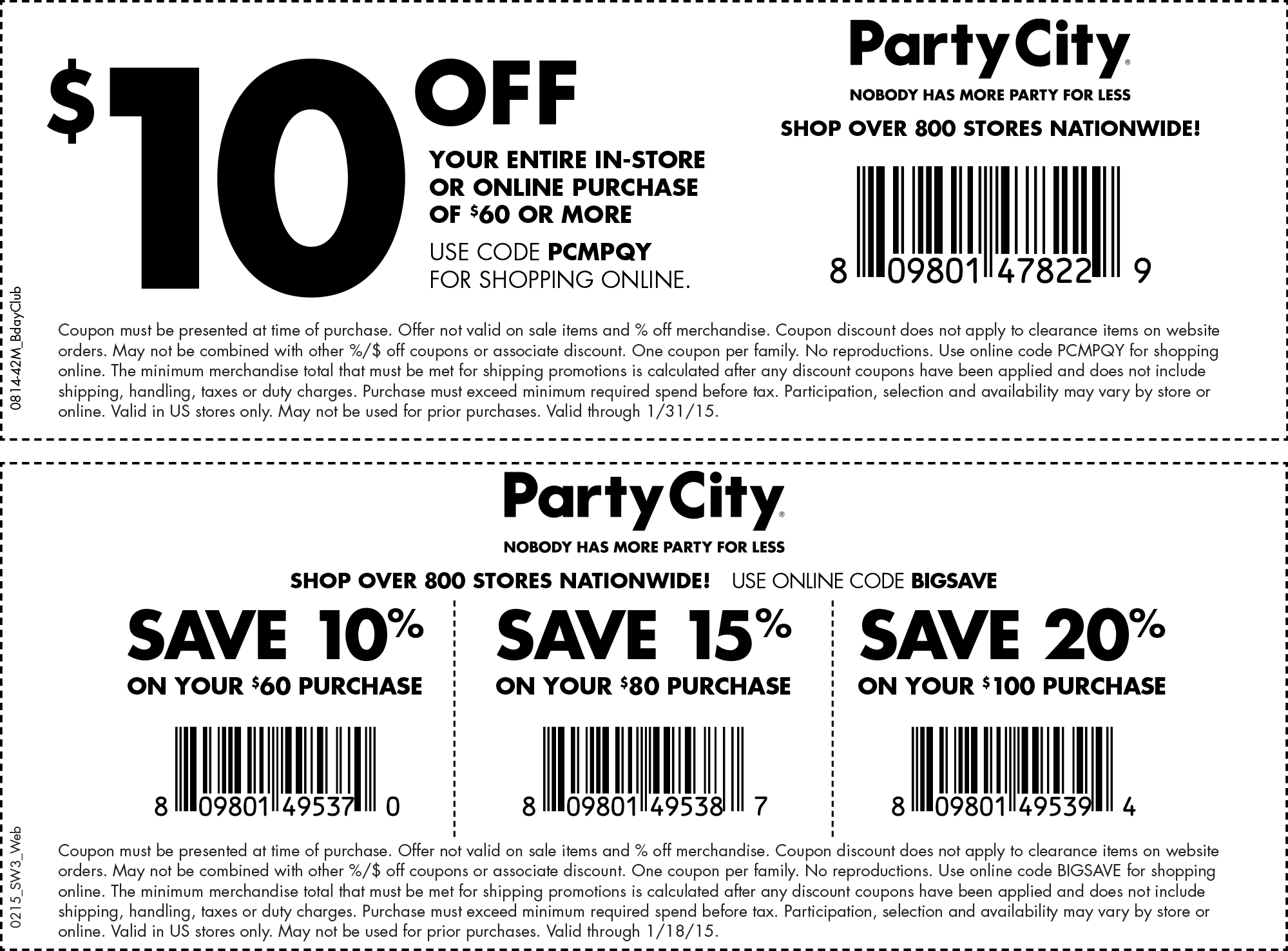 Party City Coupon January 2017 $10 off $60 at Party City, or online via promo code PCMPQY