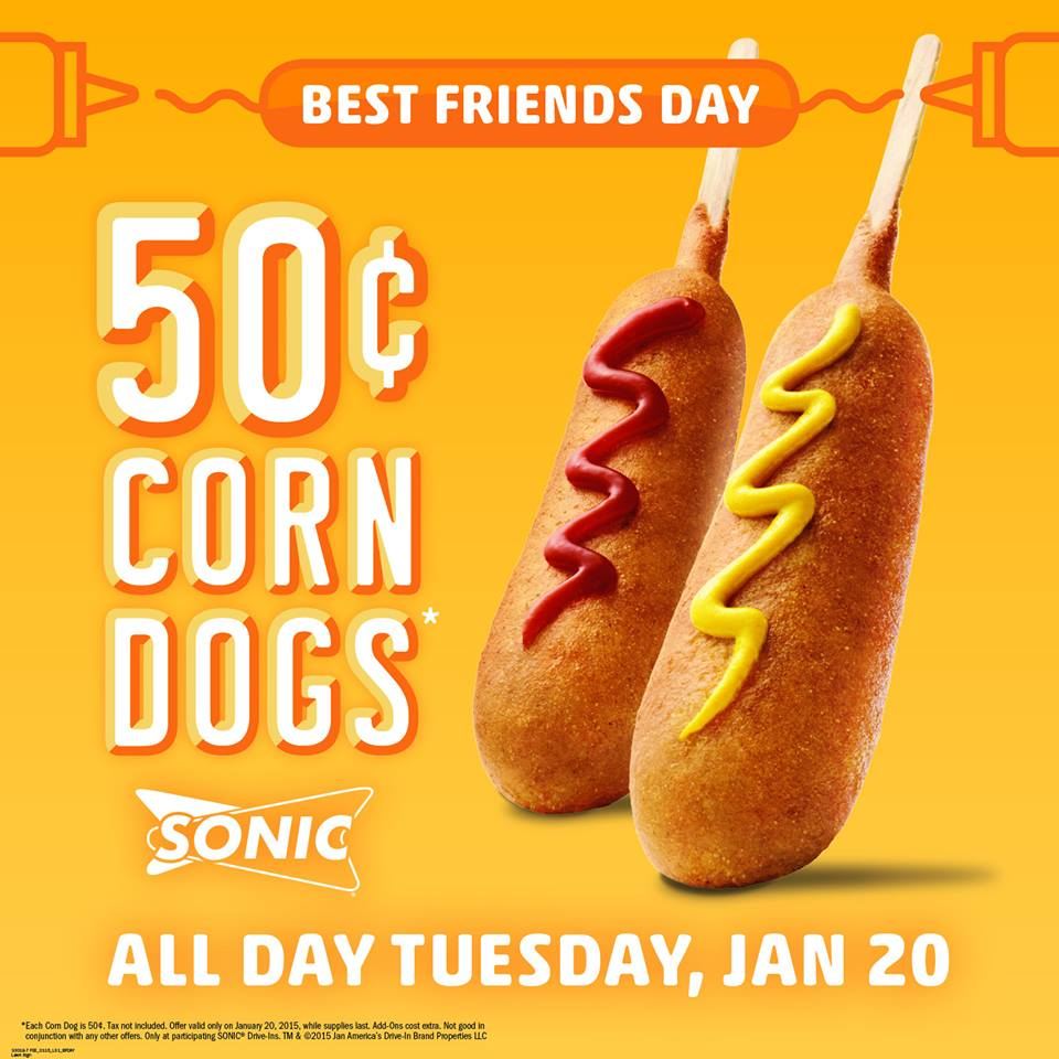 Sonic Drive-In Coupon October 2018 50¢ corn dogs the 20th at Sonic Drive-In