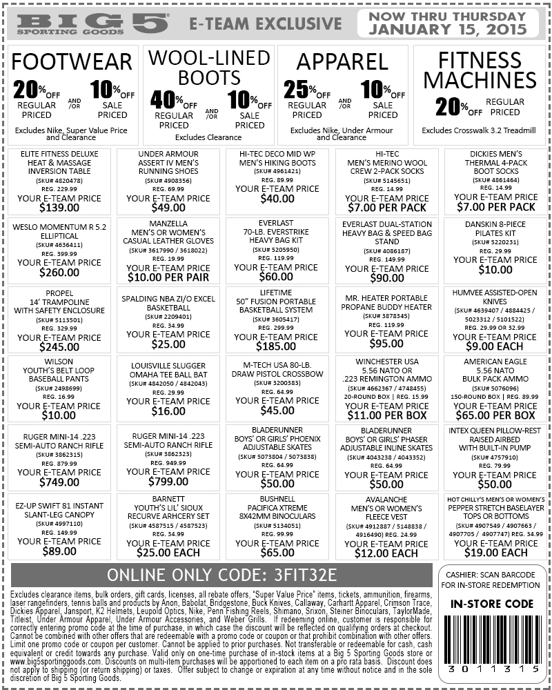 Big 5 Coupon March 2019 20-40% off various departments at Big 5 sporting goods