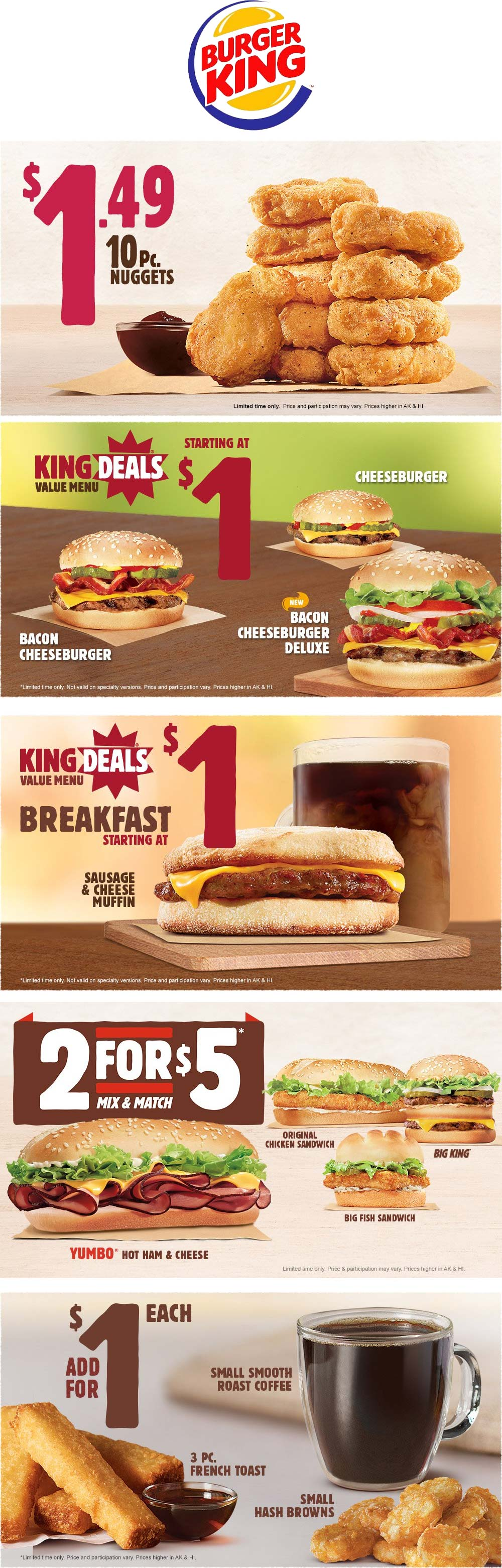 Burger King Coupon November 2018 10pc nuggets $1.49 & more going on at Burger King