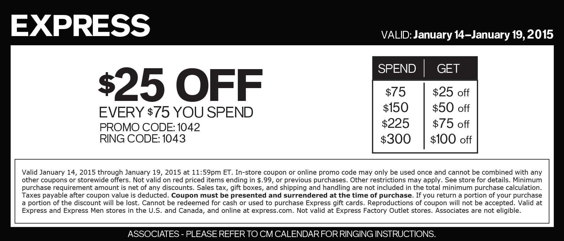 Express Coupon December 2016 $25 off every $75 at Express, or online via promo code 1042