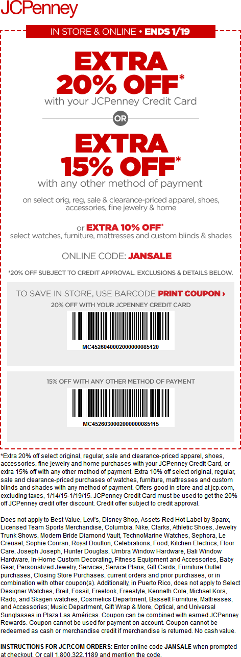 JCPenney Coupon March 2017 Extra 15% off at JCPenney, or online via promo code JANSALE