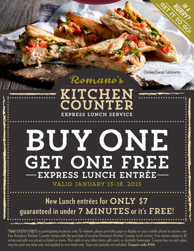 Macaroni Grill Coupon January 2017 Second lunch free at Romanos Macaroni Grill - both free if over 7 minutes wait