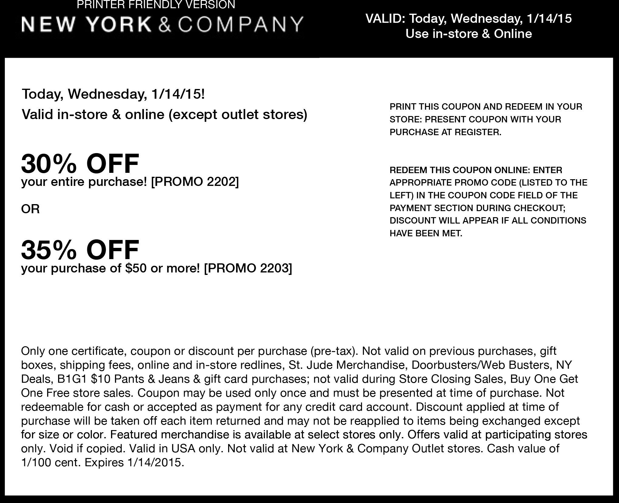 New York & Company Coupon December 2016 30-35% off today at New York & Company, or online via promo code 2202