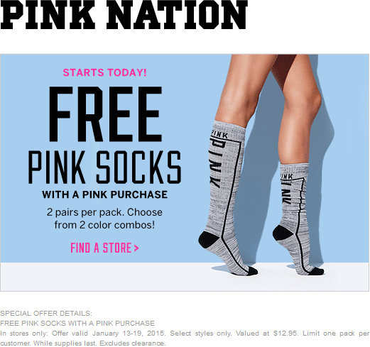 Victorias Secret Coupon May 2017 2pr socks free with any Pink purchase at Victorias Secret