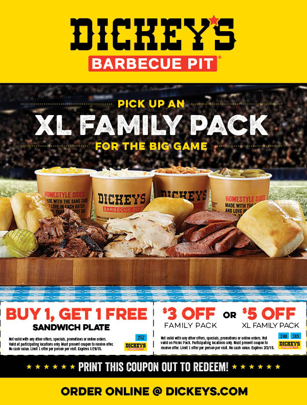 Dickeys Barbeque Pit Coupon December 2017 Second sandwich plate free & more at Dickeys Barbeque Pit