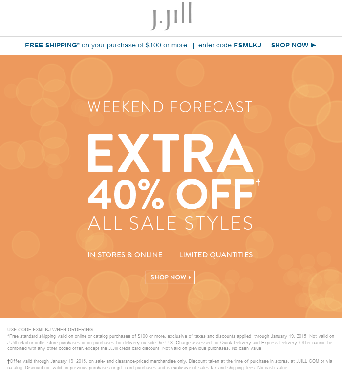 J.Jill Coupon October 2016 Extra 40% off sale styles at J.Jill, or online via promo code FSMLKJ