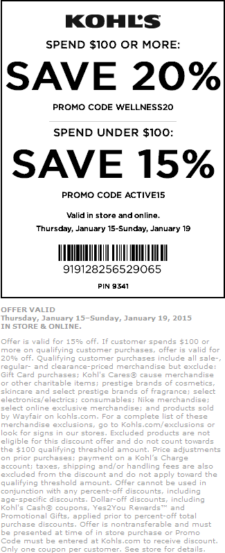 Kohls Coupon October 2018 15-20% off at Kohls, or online via promo code ACTIVE15