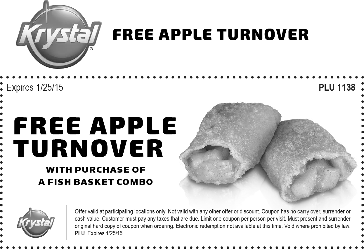 Krystal Coupon August 2017 Apple turnover free with your fish basket at Krystal