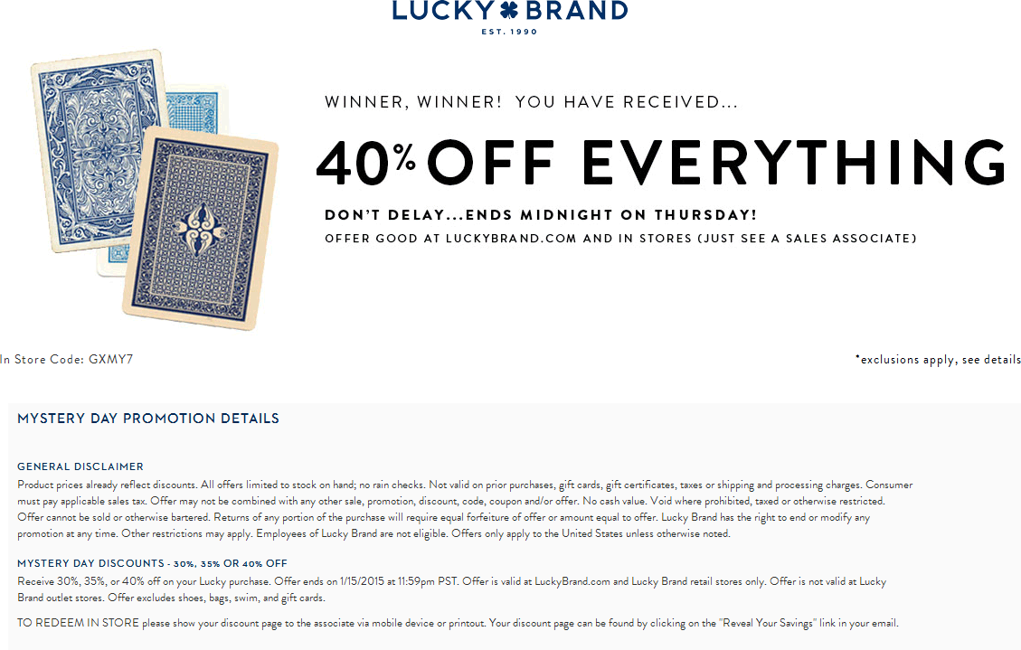 Lucky Brand Coupon September 2017 40% off at Lucky Brand, ditto online