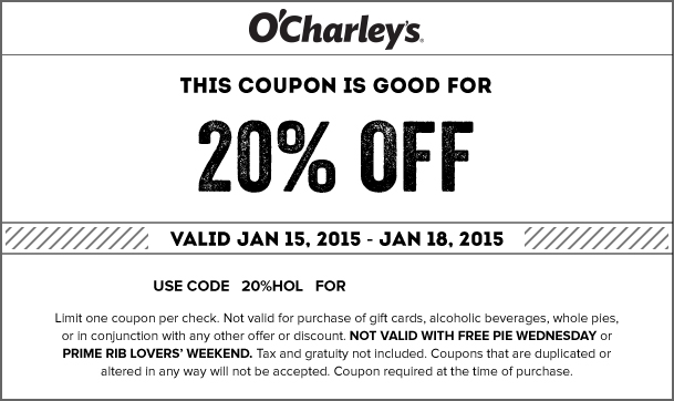 OCharleys Coupon September 2018 20% off at OCharleys restaurants